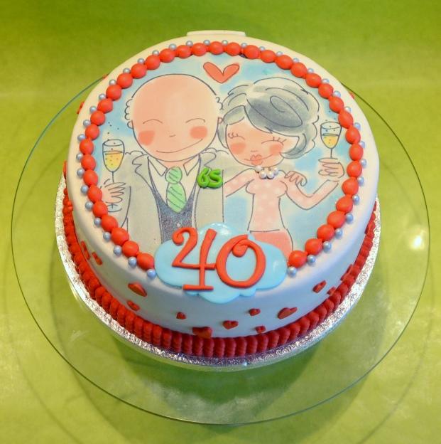 taart getrouwd taart 40 jaar getrouwd   dubbelhandig taart getrouwd