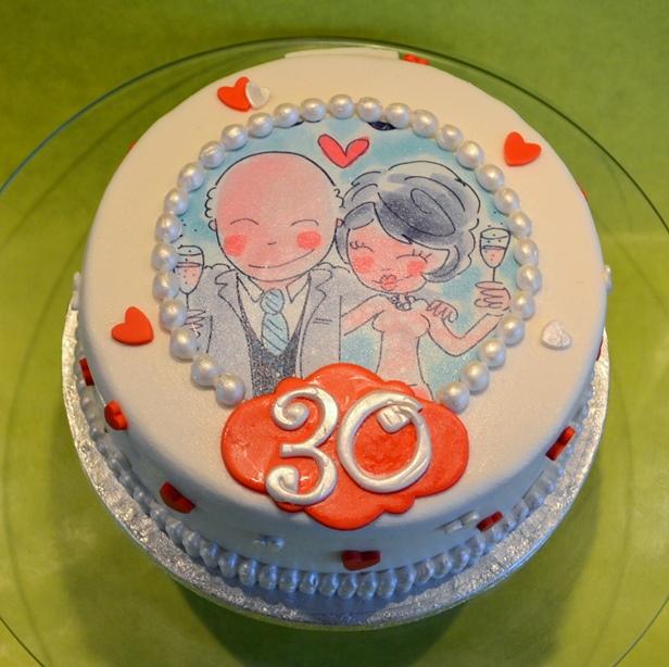 Wonderbaarlijk taartje 30 jaar getrouwd - dubbelhandig YG-05