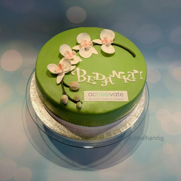 bedankt taart bedankt taart met orchidee   dubbelhandig bedankt taart