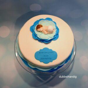 taart baby met blauwe bloem