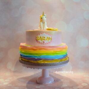 stapeltaart unicorn regenboog goud
