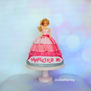 taart barbie in roze en glitters