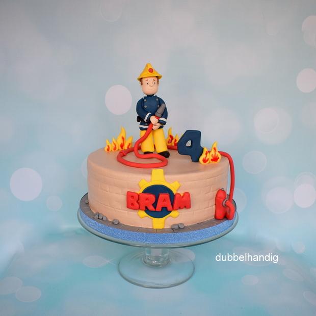 Bedwelming taart brandweerman sam - dubbelhandig #TW07