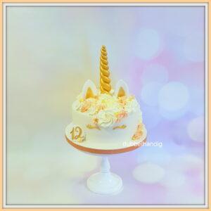 taart unicorn zalmroze-goud