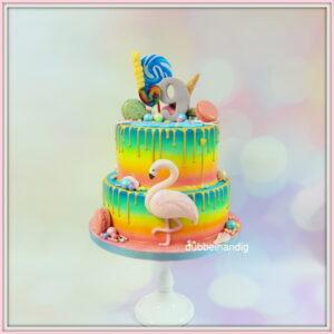 stapeltaart regenboog-snoep-flamingo