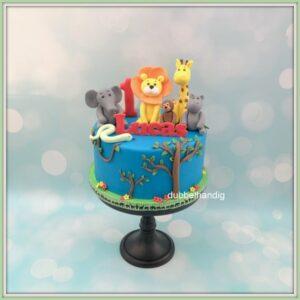 taart blauw met jungledieren